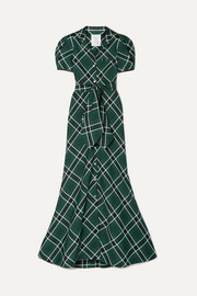 Belted checked woven maxi dress