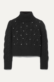 Cropped polka-dot cable-knit cashmere turtleneck sweater