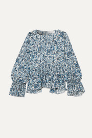 APIECE APART Midnight ruffled floral-print cotton-gauze blouse