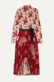 REDValentino Pleated floral-print crepe and silk-satin midi dress