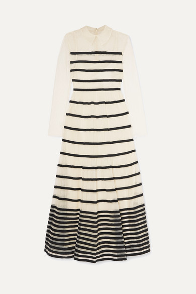 grosgrain-trimmed-point-desprit-tulle-midi-dress by redvalentino