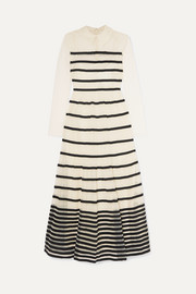 REDValentino Grosgrain-trimmed point d'esprit tulle midi dress