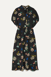 REDValentino Pussy-bow floral-print ruffled crepe midi dress