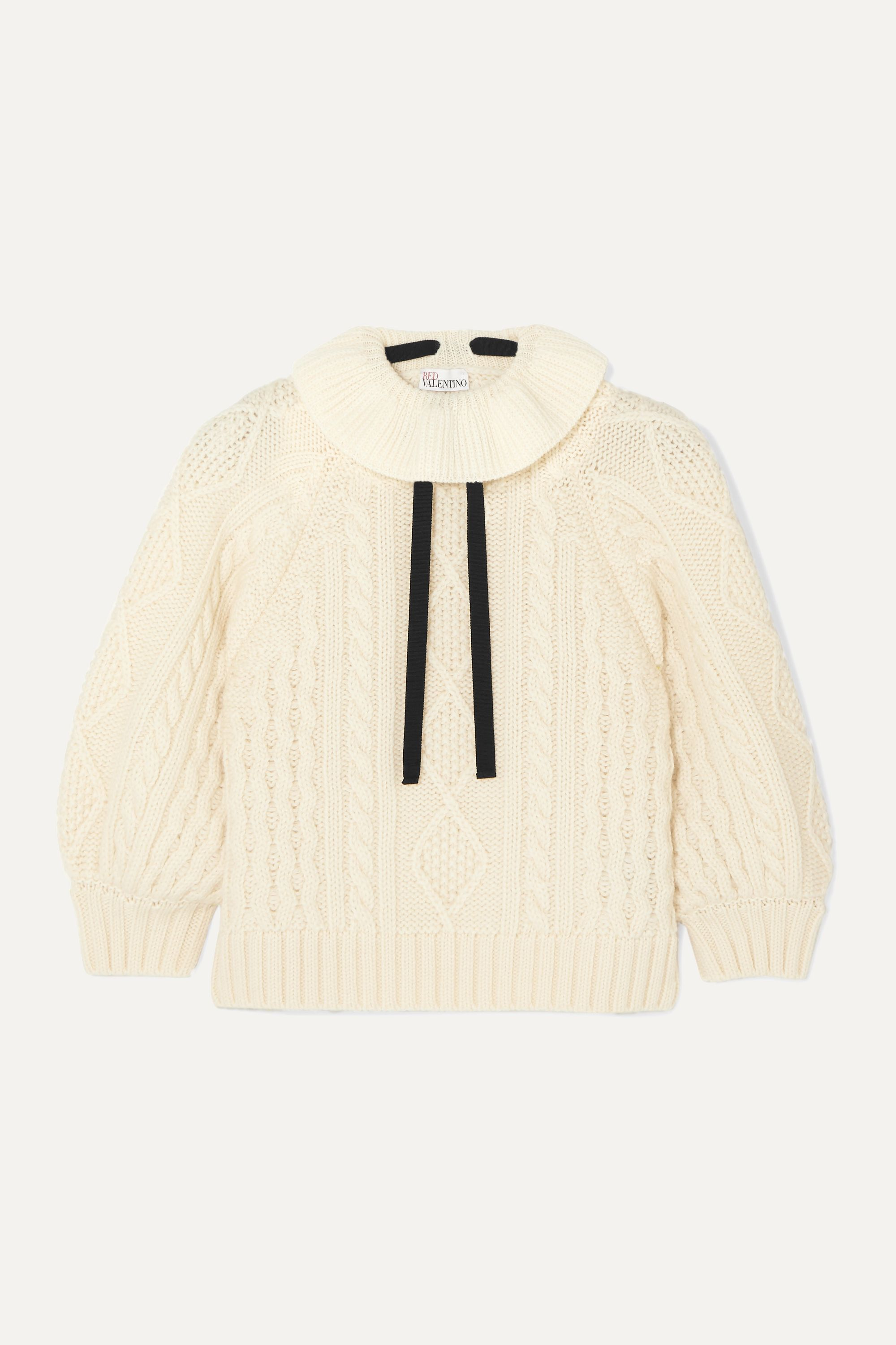 REDValentino Cropped bow-detailed ruffled cable-knit wool sweater
