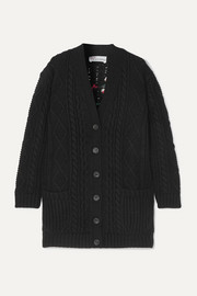 REDValentino Embroidered cable-knit wool cardigan