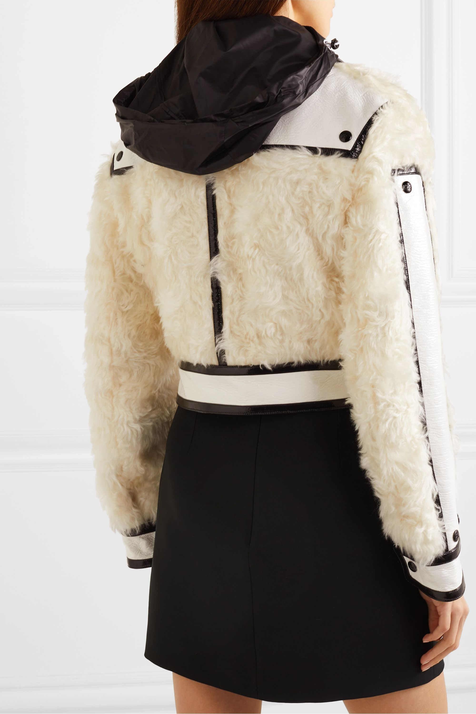 COURREGES Cropped faux patent leather-trimmed faux fur jacket
