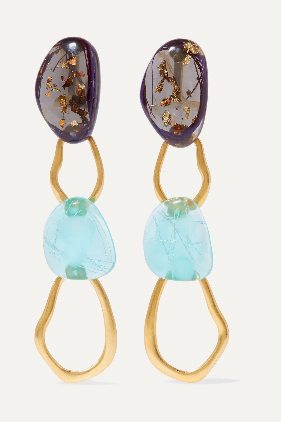 unknown Tilda goldfarbene Ohrringe mit Harzdetails