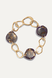 Ejing Zhang Tilda resin and gold-plated bracelet