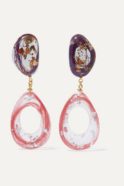 Ejing Zhang Kaare resin and gold-plated earrings