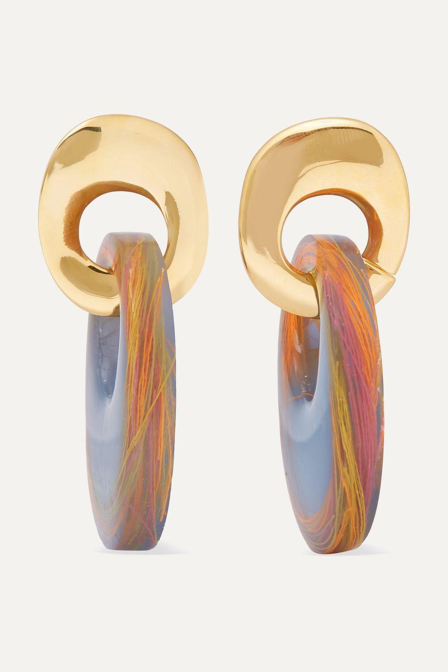unknown Finn vergoldete Ohrringe mit Harz