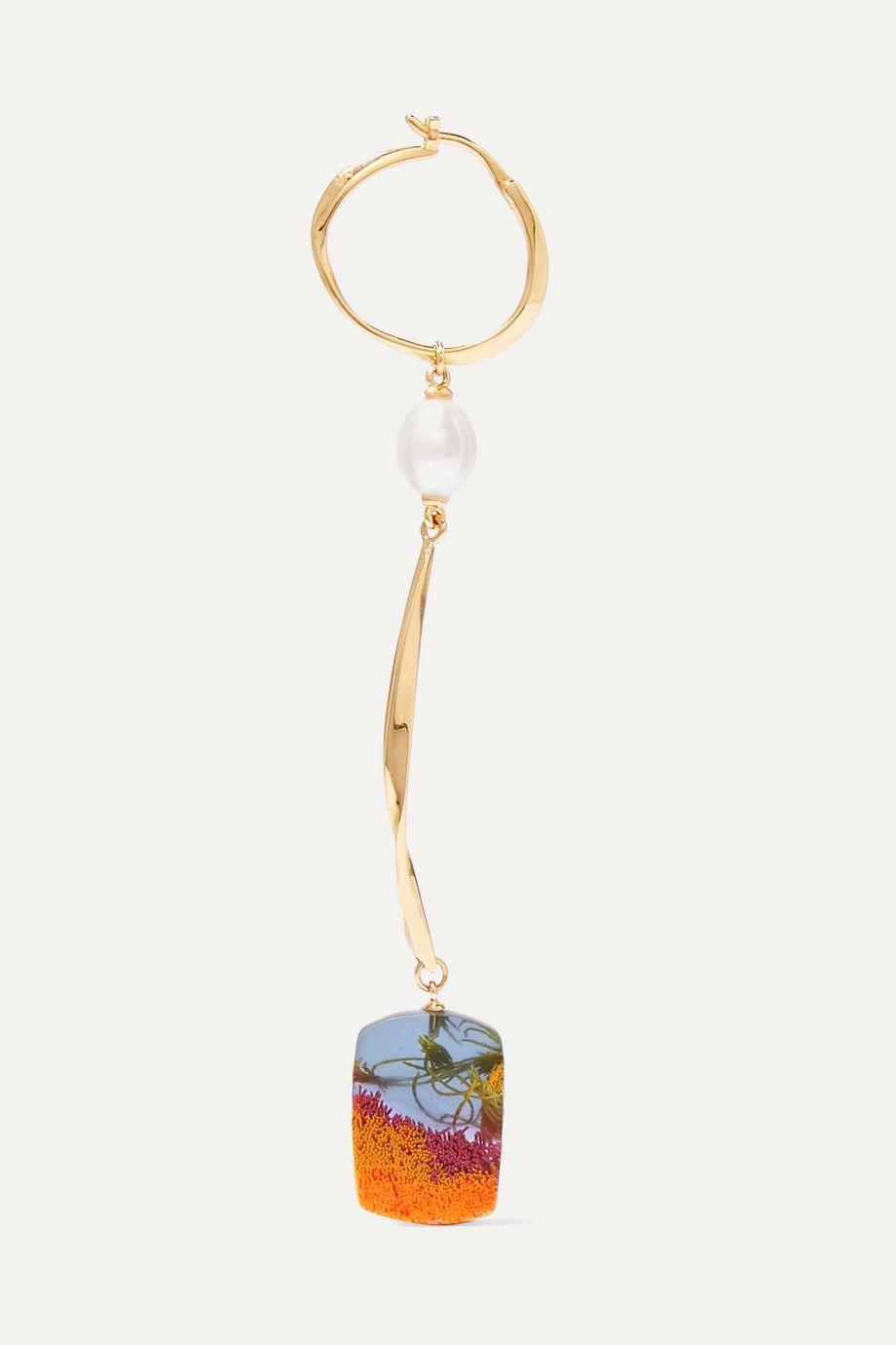 unknown Viv vergoldete Ohrringe mit Perlen und Harz