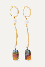 Viv gold-plated, pearl and resin earrings