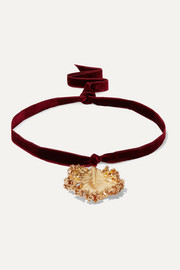 Gold-plated and velvet necklace