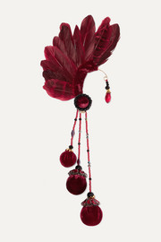 Bes feather, bead and velvet ear cuff