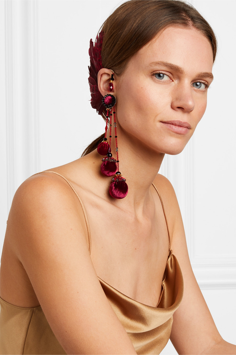 Ranjana Khan Bes feather, bead and velvet ear cuff