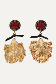 Gold-plated, crystal, tulle and leather clip earrings