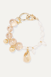 Gold-plated glass and pearl bracelet
