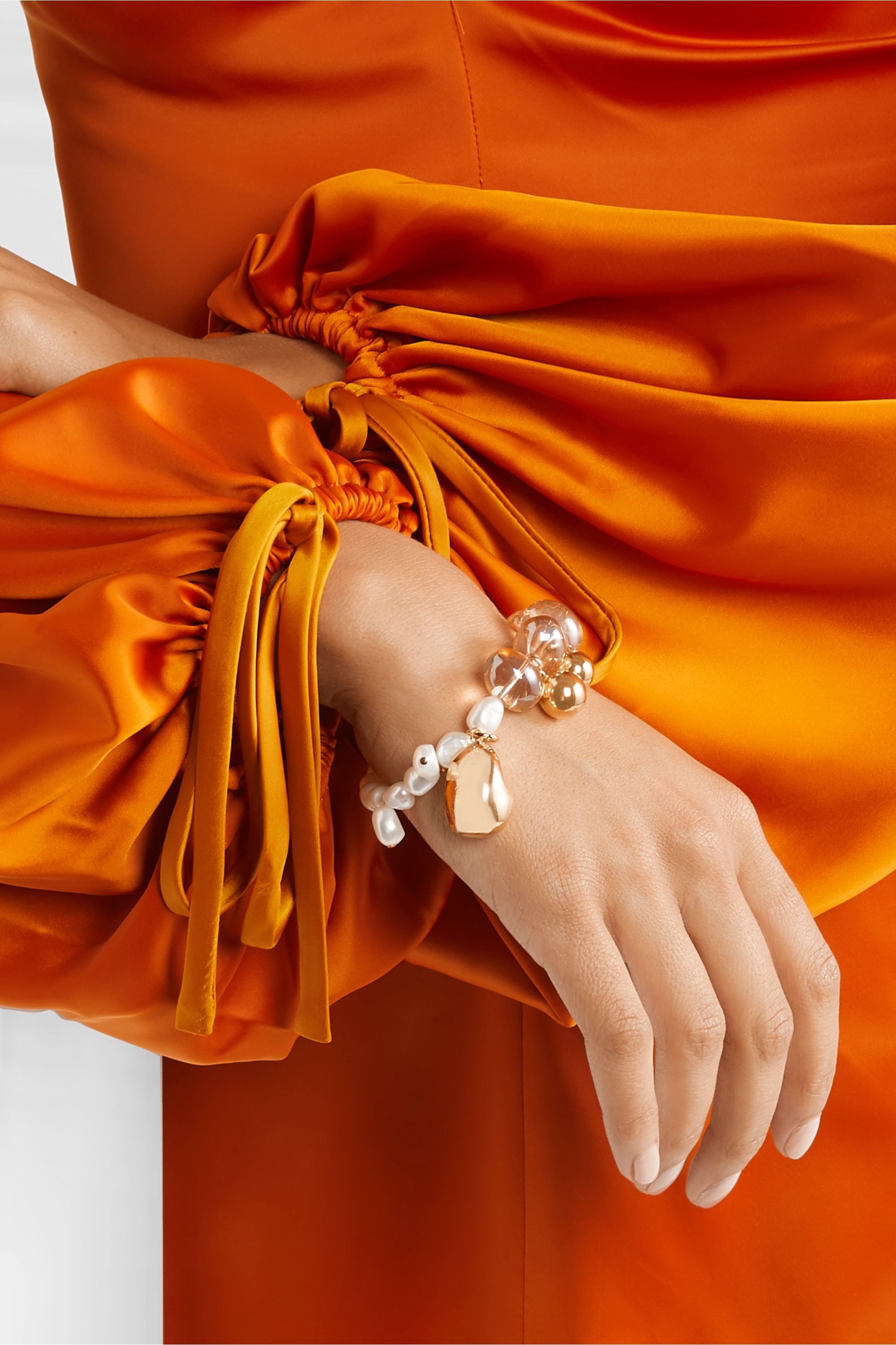 Mounser Gold-plated glass and pearl bracelet