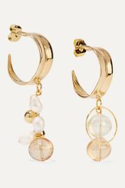 Cirrus gold-plated, pearl and glass earrings