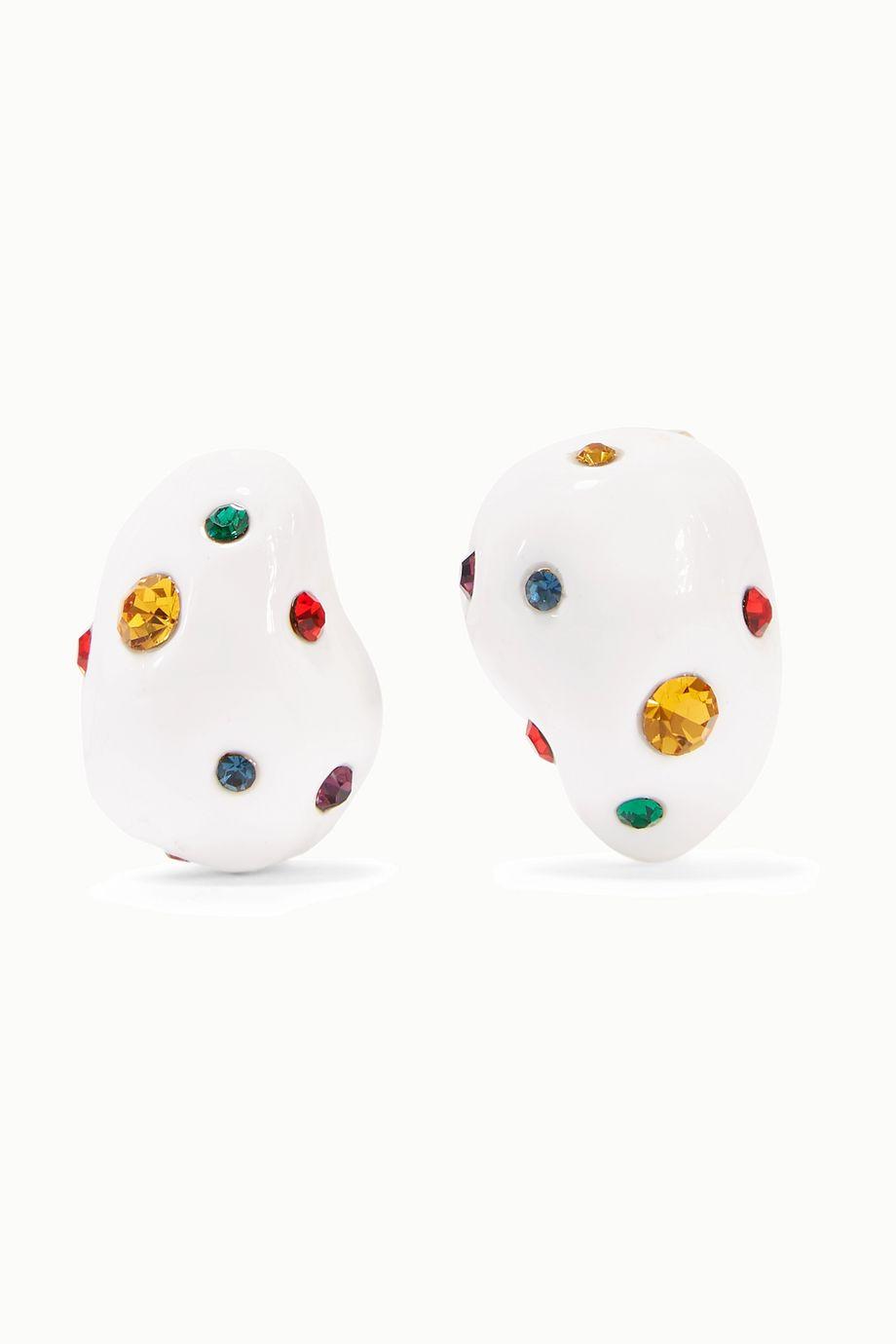 Mounser 镀金搪瓷水晶耳环