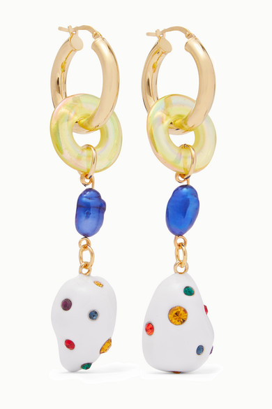 Gold Plated Glass, Pearl And Crystal Earrings by Mounser