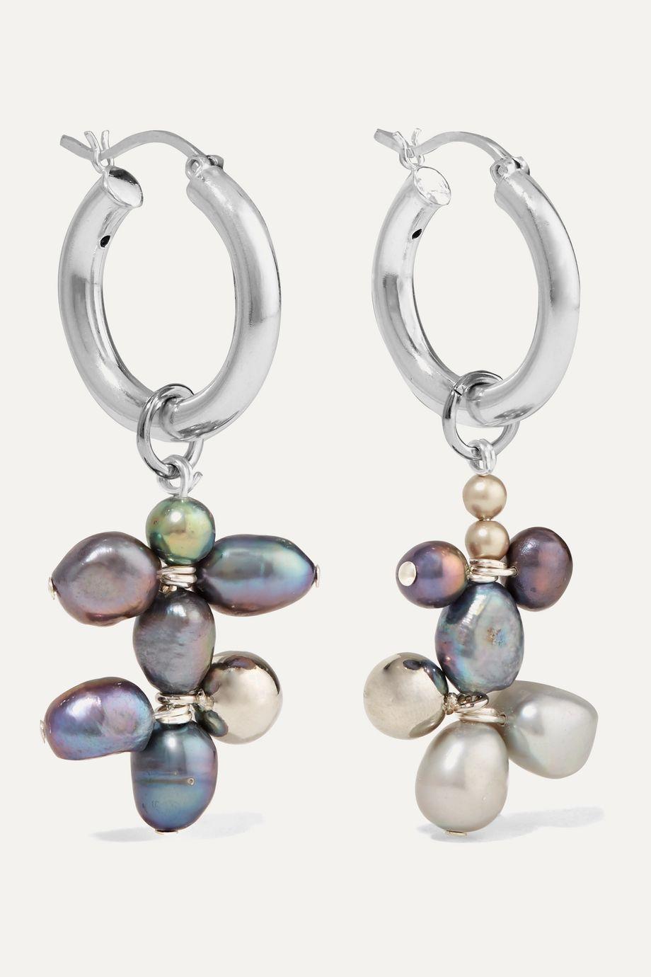 Mounser Silver-tone pearl earrings