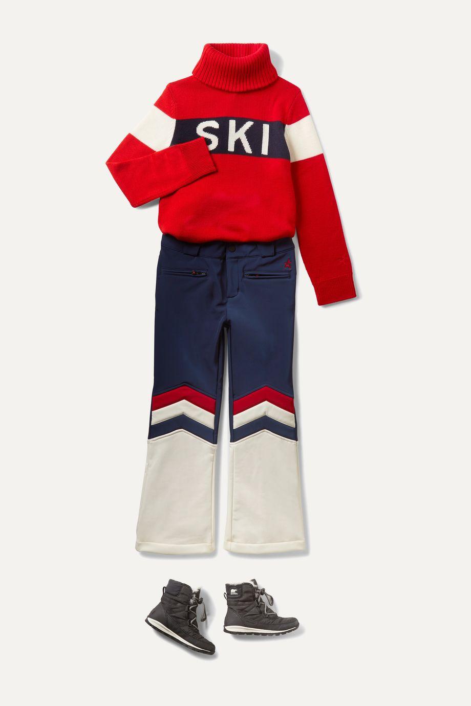 Perfect Moment Kids Ages 6 - 12 Ski intarsia merino wool turtleneck sweater