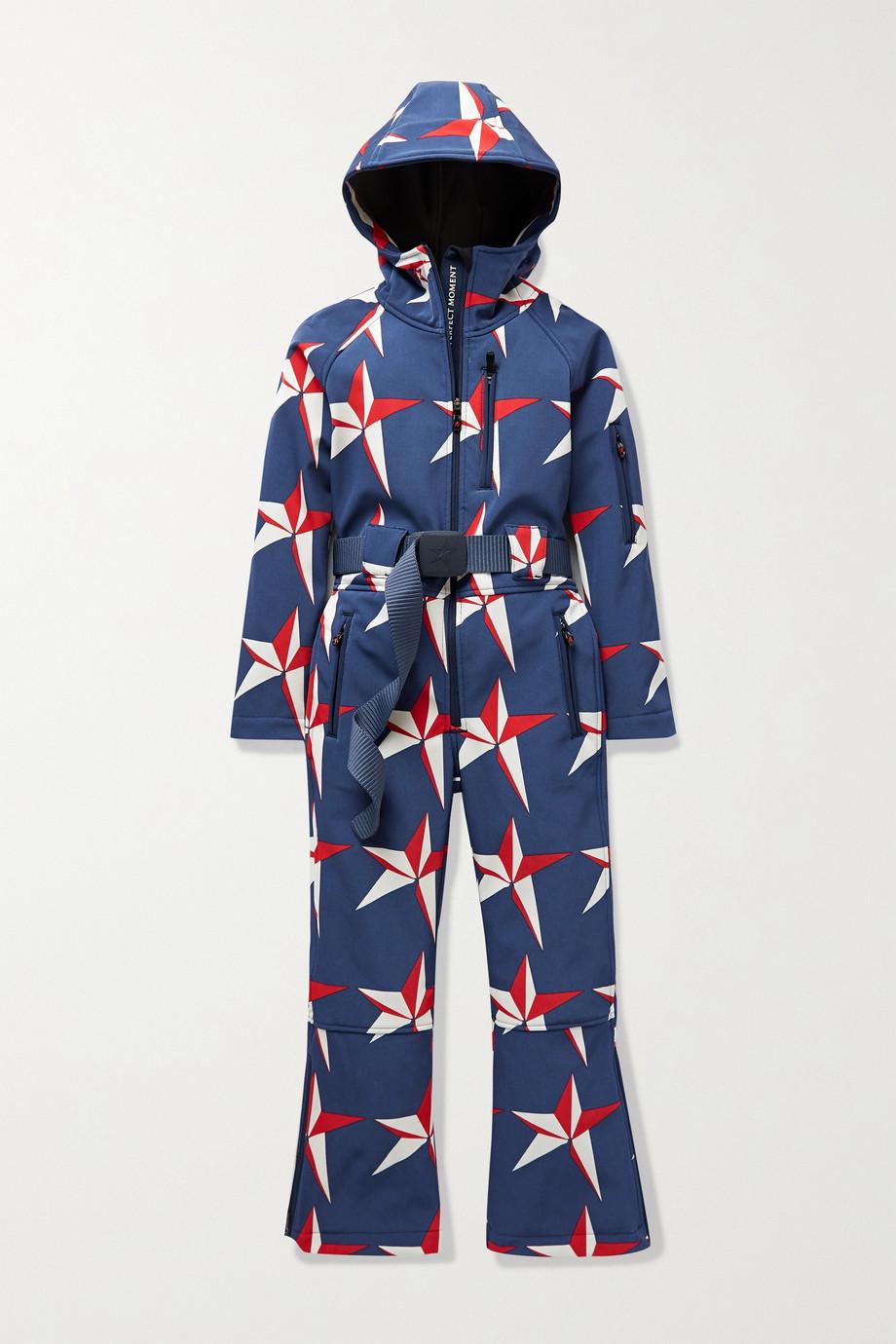 Perfect Moment Kids 【6 - 12 岁】连帽配腰带印花连体滑雪服