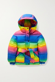 Perfect Moment Kids Ages 6 - 12 hooded belted striped quilted down ski jacket