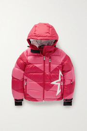 Perfect Moment Kids Ages 6 - 12 Super Moto hooded striped quilted ripstop down ski jacket