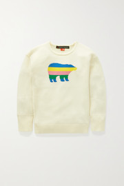 Perfect Moment Kids Ages 6 - 12 striped intarsia merino wool sweater