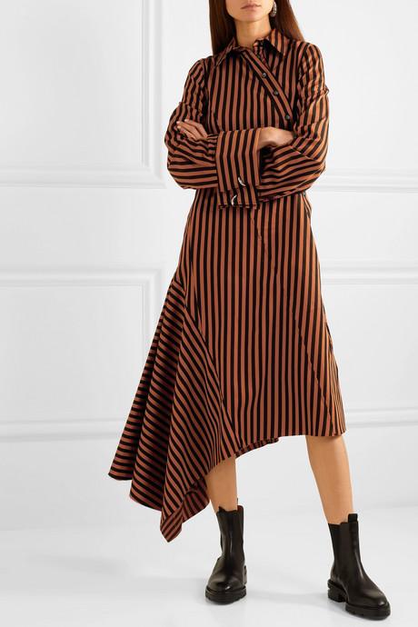 Asymmetric paneled striped cotton dress