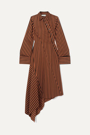 Asymmetric paneled striped cotton dress