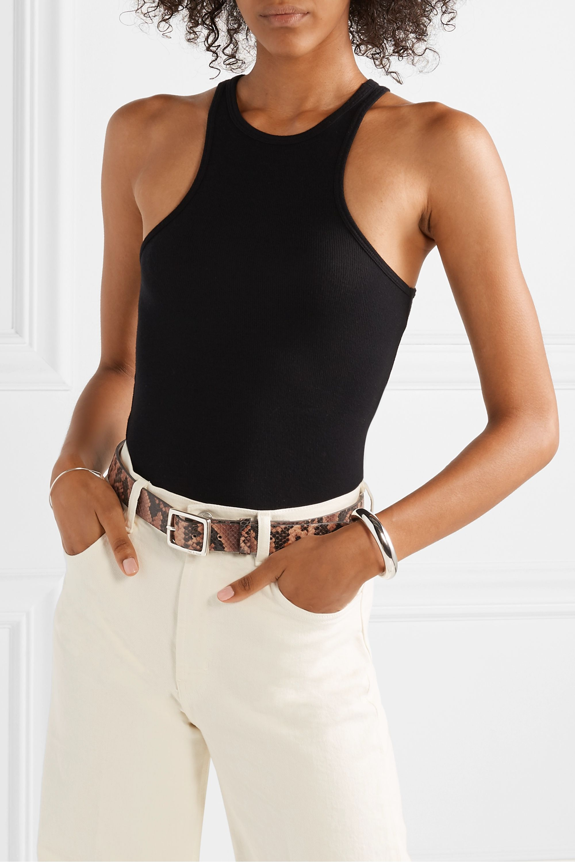 rag & bone Boyfriend snake-effect leather belt