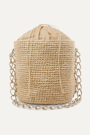 Small woven mohair and raffia bucket bag