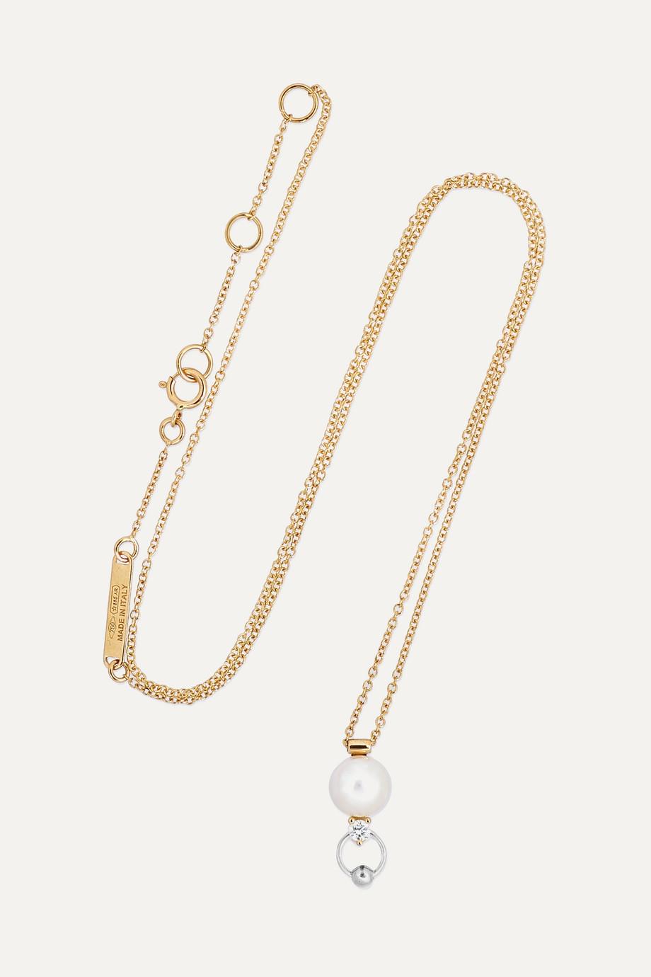 Delfina Delettrez 18-karat yellow and white gold diamond and pearl necklace