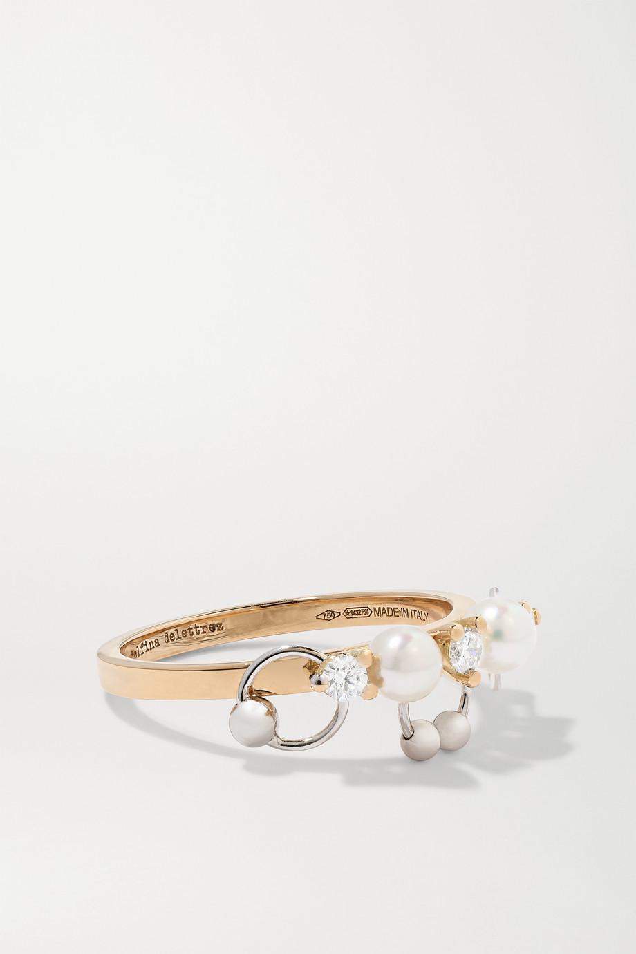 Delfina Delettrez 18-karat yellow and white gold, diamond and pearl ring