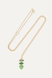 Brooke Gregson Maya Leaf 18-karat gold, sapphire and emerald necklace