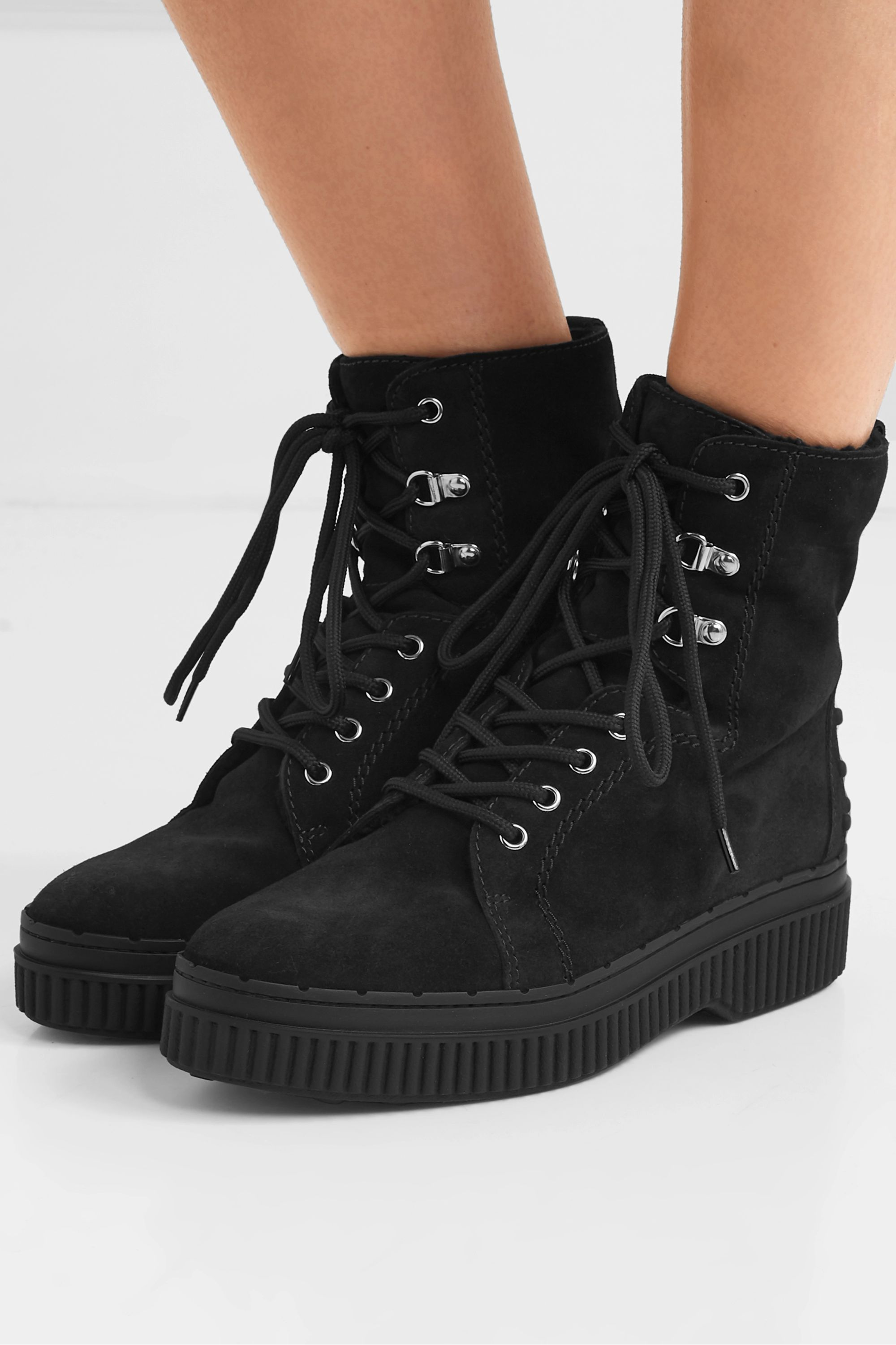 Black Shearling-lined suede ankle boots