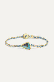 Brooke Gregson Ellipse 18-karat gold, silk and opal bracelet