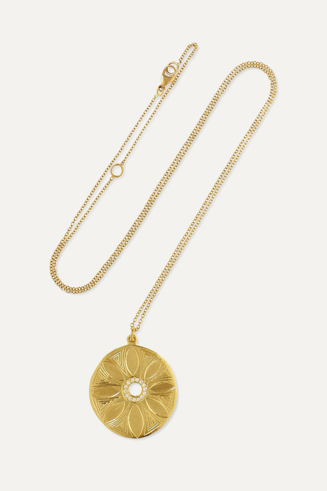 Gold Mandala Flora 18-karat gold diamond necklace   Brooke Gregson YKdK34