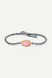 Brooke Gregson Orbit 14-karat gold, sterling silver, silk and opal bracelet