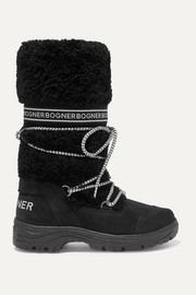 Alta Badia logo-print shearling and suede snow boots