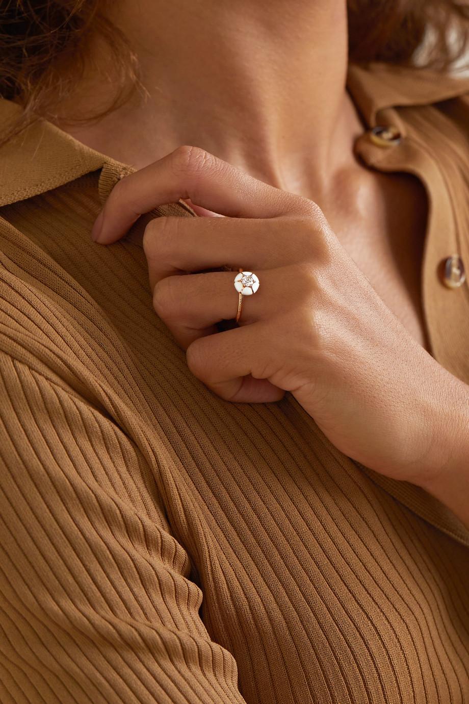 Selim Mouzannar Ring aus 18 Karat Roségold mit Emaille und Diamant