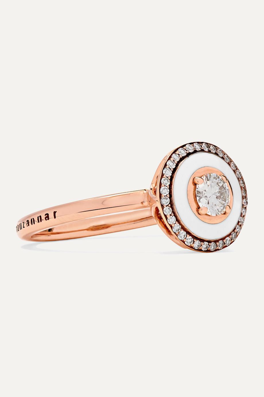Selim Mouzannar 18-karat rose gold, enamel and diamond ring