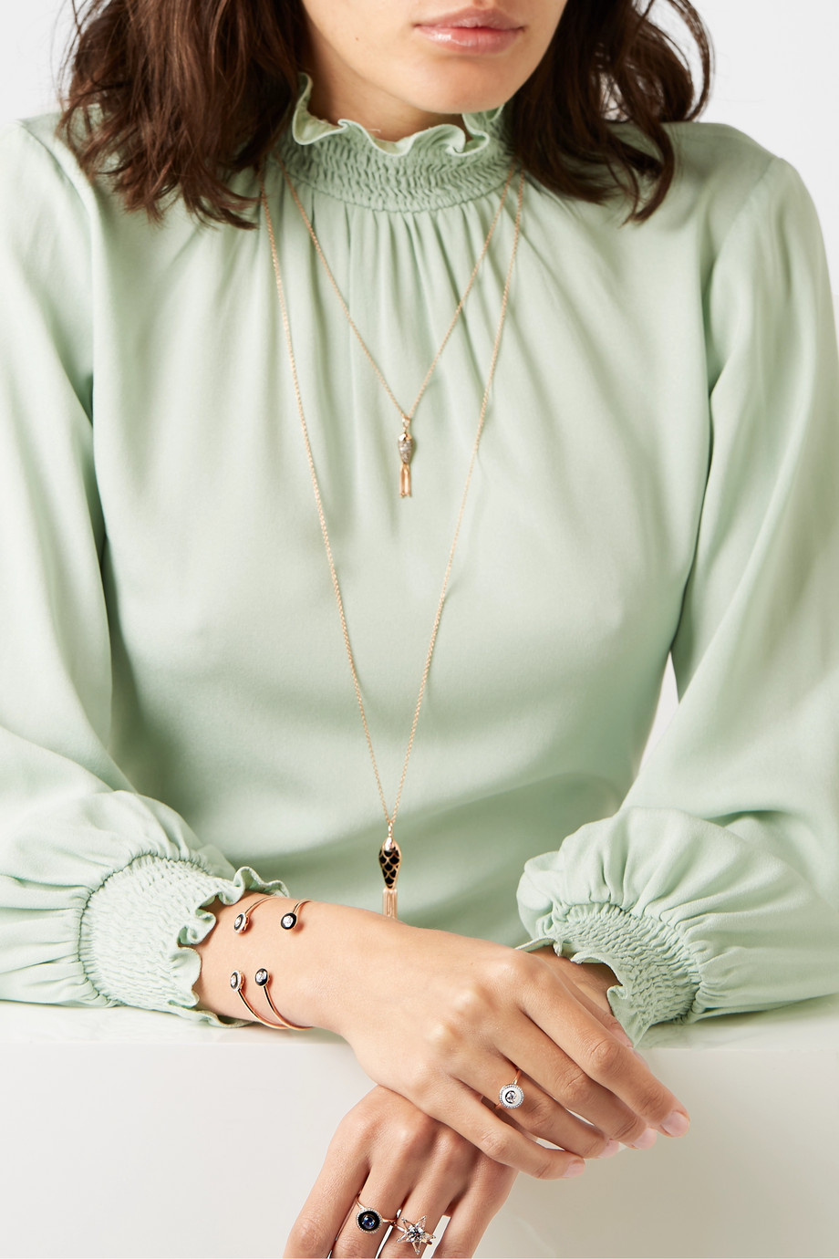 Selim Mouzannar Ring aus 18 Karat Roségold mit Emaille und Diamanten