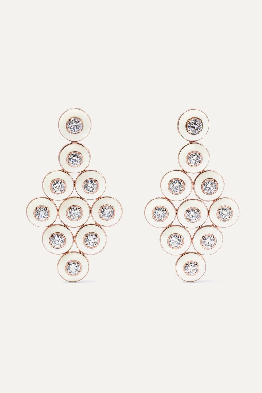 Selim Mouzannar Ohrringe aus 18 Karat Roségold mit Emaille und Diamanten