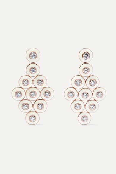 Selim Mouzannar - 18-karat Rose Gold, Enamel And Diamond Earrings - one size