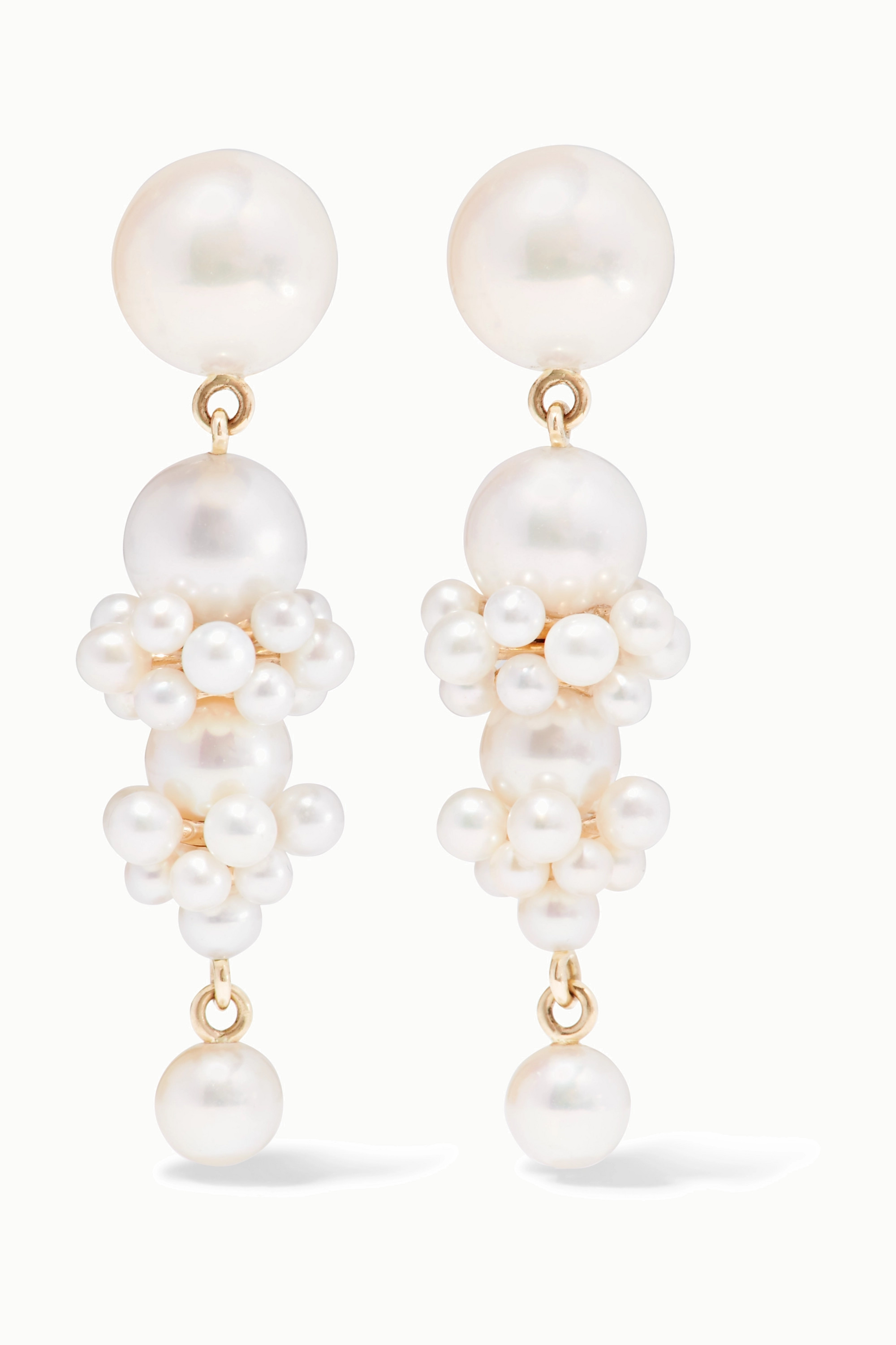 Sophie Bille Brahe + Cecilie Bahnsen Tulip 14-karat gold pearl earrings