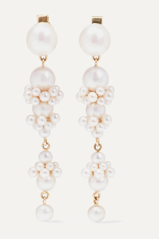 Sophie Bille Brahe + Cecilie Bahnsen Tulip Perle 14-karat gold pearl earrings